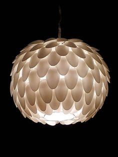Plastic spoon round hanging light shade by MelsCreativeDesigns, $30.00