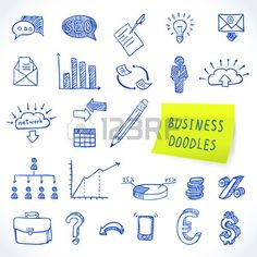 Doodle business set of finance economy marketing decorative icons isolated vector illustration Stock Vector