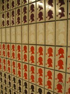 Sherlock Holmes tiles in London.