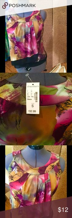 Dress barn NWTs size small top, gorgeous Dress barn NWTs size small top, gorgeous. Black trim at bottom, sleeveless, sheer, flowy fabric, but not see through. Dress Barn Tops Blouses