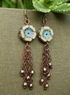 Boho Gypsy Flower Earrings Ivory and Blue Picasso by BonArtsStudio