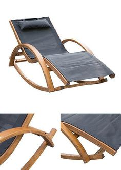 Rocking Patio Sun Lounger Recliner Outdoor Pool Hotel Chaise Lounge Bed Cushion #RockingPatioSunLounger
