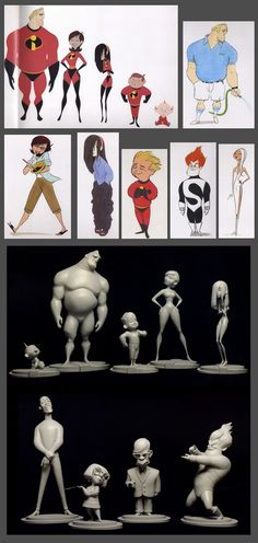 Here's some concept art and sculptures for the characters designs from the Art of The Incredibles book.