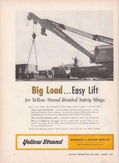 1957 Broderick & Bascom Rope Co Ad: B&O Baltimore & Ohio Railroad Gondola Cars