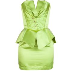 Thierry Mugler Vintage Peplum Ensemble ($1,401) ❤ liked on Polyvore featuring dresses, short dresses, green, vintage silk dress, lace up corset, mini dress, short green dress and vintage dresses