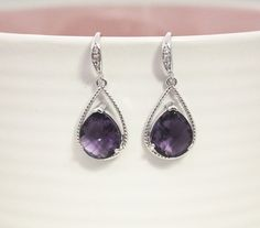 Amethyst purple crystal drop earring, Gorgeous Drop ,stone in twisted bezel…