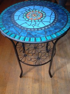 Side Tables - Mosaic Table, Garden, Side Table, Bistro Table - a unique product by Scherbenkiste on DaWanda Mosaic Outdoor Table, Mosaic Tile Table, Mosaic Coffee Table, Outdoor Table Tops, Tile Tables, Mosaic Table Tops, Mosaic Garden Art, Mosaic Art, Mosaic Glass