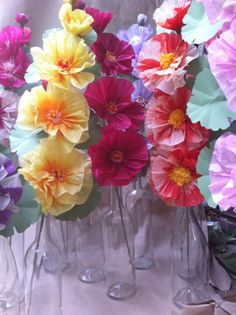 Paper Flowers - Hollyhock with 4 blooms