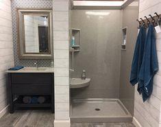 Shower Gallery Onyx Shower, Bathroom Shower Panels, Shower Doors, Small Shower Remodel, Small Bathroom, Bathroom Ideas, Restroom Ideas, Bathroom Updates, Bathroom Laundry
