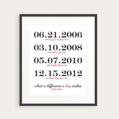 Family Dates Print - Personalized Family Wall Art Print - Anniversary Date, Child's Birthday - 8x10 Wall Decor in Custom Colors on Etsy, $20.00