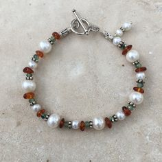 Pearl, Amber, Peridot Crystals and Sterling Silver Bracelet, 7 1/2 inch bracelet by EastVillageJewelry on Etsy