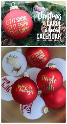 christmas carol advent calendar--using vinyl on christmas ornaments