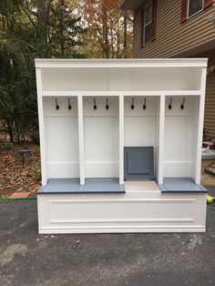 Mudroom locker 78x70x 18 available in white with stained Khona bench or painted grey bench. Storage under seating with individual compartments under seating solid structure