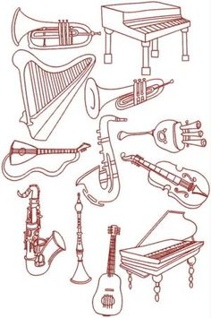 Advanced Embroidery Designs - Musical Instrument Set I