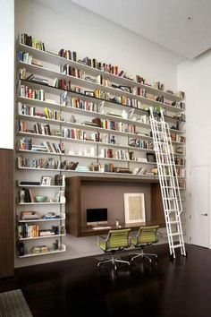 Single wall Home Library with high walls & ceilings