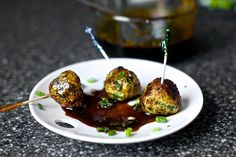 scallion turkey meatballs with soy ginger glaze