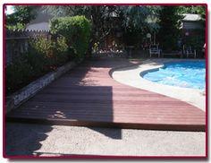 Pool deck Pool Waterfall, Pool Decks, Water Features, Oasis, Backyard, Construction, Decking, House Styles, Pools