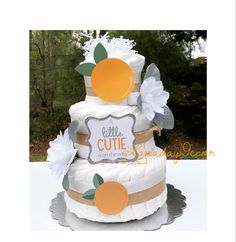 Custom Diaper Cakes in ANY theme or color scheme! by LanadayDecor Peach Baby Shower, Unique Baby Shower, Gender Neutral Baby Shower, Baby Boy Shower, Baby Shower Gifts, Baby Gifts, Baby Shower Decorations For Boys, Baby Shower Themes, Shower Ideas