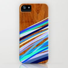 Wooden Waves Blue iPhone & iPod Case by House of Jennifer - $35.00