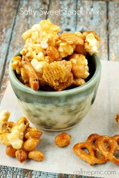 Salty Sweet Caramel Snack Mix is crispy, crunchy, salty and sweet, hitting all your favorite snacking pleasures. This recipe is great for munching and great for giving as well! Popcorn Snacks, Salty Snacks, Pop Popcorn, Road Trip Snacks, Travel Snacks, Snack Recipes, Cooking Recipes, Sweet Recipes, Dessert Recipes