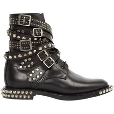 Pre-owned Saint Laurent Leather Biker Boots ($1,059) ❤ liked on Polyvore featuring shoes, boots, black, moto boots, black engineer boots, black moto boots, engineer boots and leather biker boots