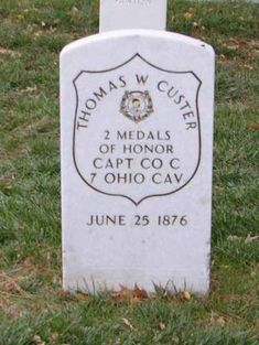 Grave Marker- Thomas W. Custer. (George's brother) Historic Fort Leavenworth - Thomas Custer, buried at the Fort Leavenworth National Cemetery, Leavenworth, Kansas