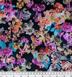 Blackbird Fabrics - Orchid Print Lightweight Cotton Sateen - Black/Pink/Orange - 1/2 meter, $10.50 (http://www.blackbirdfabrics.com/orchid-print-lightweight-cotton-sateen-black-pink-orange/)