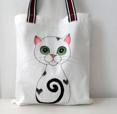 Cat Tote Bag Handpainted Cat Illustration by ShebboDesign… Painted Bags, Hand Painted, Cat Bag, Jute Bags, Linen Bag, Fabric Bags, Shopper, Reusable Bags, Cotton Bag