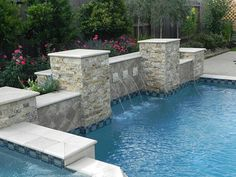 -  Stone for columns, tile on the raised beam, and water color