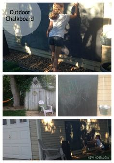 DIY Outdoor Chalkboard -- this project was so easy  has provided hours of fun!