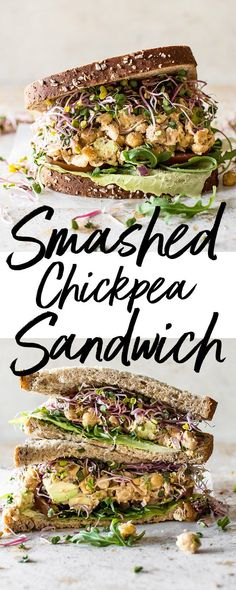This smashed chickpea salad sandwich recipe is healthy, satisfying, fresh, and delicious! A quick and easy light meal idea. #smashedchickpeas #chickpeasalad #chickpeas #chickpeasandwich #vegetarianrecipe