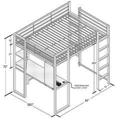 DHP Abode Full Size Metal Loft Bed - Overstock™ Shopping - Great Deals on Dorel Home Products Kids' Beds Bunk Beds With Stairs, Kids Bunk Beds, Loft Beds, Cama Industrial, Loft Bed Plans, Modern Bunk Beds, Black Shelves, Work Station Desk, Built In Desk