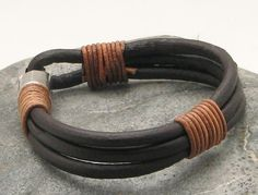 FREE SHIPPING Men's leather bracelet Fawn and dark by eliziatelye, $26.00