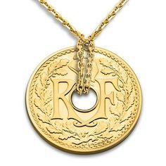 collier 5 centimes or jaune collier pice 5 centimes monnaie de paris