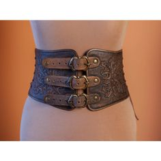 Leather Medieval Women Half Underbust Body Corset Belt Fetish Handmade... ($157) ❤ liked on Polyvore featuring accessories