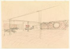Ludwig Mies van der Rohe. Ulrich Lange House Project, Krefeld, Germany, Perspective sketch. 1935