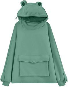 Amazon.com: Womens Cute Frog Hoodie Loose Pullover Zip up Hooded Top Sweatshirt with Large Front Pocket: Clothing Cute Sweatshirts, Hooded Sweatshirts, Hoodies, Cute Casual Outfits, Pretty Outfits, Cute Summer Outfits, Cute Frogs, Kawaii Clothes, Look Cool