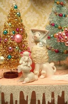 Mid Century Modern Christmas with Vintage Christmas Poodles and Bottle Brush Trees. Posted by Redlandspoodles.com