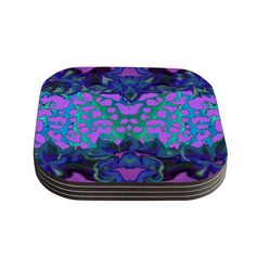 Kess InHouse Nina May 'Cerruda Orchid' Purple Teal Coasters