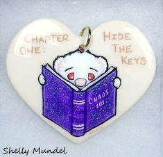 Original Ferret Painting on Handmade Heart Ornament Whimsy - Shelly Mundel #IllustrationArt