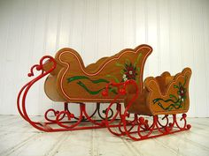 Vintage Matching Pair Hand Painted Wood & Red Enamel Metal Holiday Santa Sleds - Retro Decorative Christmas Large/Small Sleigh Gift Baskets $63.00 by DivineOrders