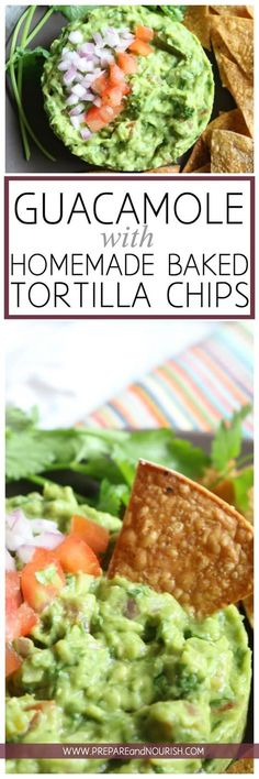 Chunky Guacamole (with Homemade Baked Tortilla Chips) - this flavorful condiment can be enjoyed by all. Naturally gluten-free, paleo, whole30 and GAPS diet friendly or enjoy with Homemade Baked Tortilla Chips (find the crazy easy recipe HERE.) via @preparenourish
