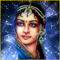 """✨ SHRI RADHA ✨ Artist: Mahendr Dube Shri Krishna said: """"All the inhabitants of Vrindavana-dhama—My mother, father, cowherd boyfriends and everything else are like My life and soul. And among all the inhabitants of Vrindavana, the gopis are My very..."""