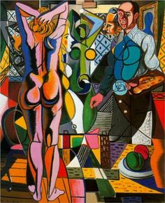 Self-portrait with model and the still life - Rafael Zabaleta