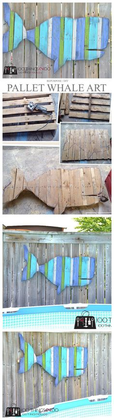 Pallet Projects - Fence Art Whale #creativewoodworking