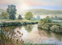 River Arun, Amberley, West Sussex - watercolour
