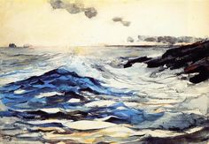 Sunset, Prout's Neck, Watercolour by Winslow Homer (1836-1910, United States)