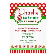 Christmas Sweet Shoppe Birthday Invitation