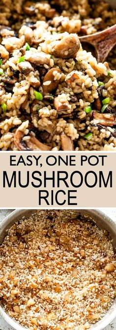 Easy One Pot Mushroom Rice - Delicious recipe for garlicky, buttery rice combine. - Easy One Pot Mushroom Rice – Delicious recipe for garlicky, buttery rice combined with tender car - Mushroom Side Dishes, Rice Side Dishes, Mushroom Rice, Dinner Side Dishes, Mushroom Recipes, Food Dishes, Beef Recipes, Vegetarian Recipes, Cooking Recipes