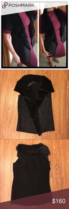 """NWT Romeo & Juliet Couture Faux Fur/Suede vest 📦Same day shipping (excluding Sun/holidays or orders placed after P.O. Closed) ❤️Save on shipping: Add all of your """"likes"""" to a bundle and submit an offer  This vest pairs luxury and comfort. The warm faux fur collar and soft faux suede are a perfect combination. Brand new with tags. See photos for material contents. The back is a knit-sweater fabric. It measures 26"""" long excluding the fur collar. I did not measure the width since it hangs…"""